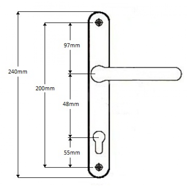 Replacement sprung upvc door handle 48pz for Double glazing window repairs