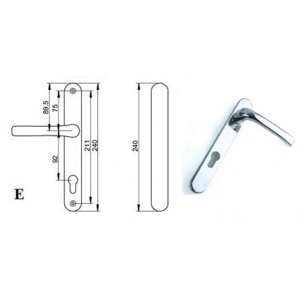Pvc Door Parts : Pro upvc pz blank door handle