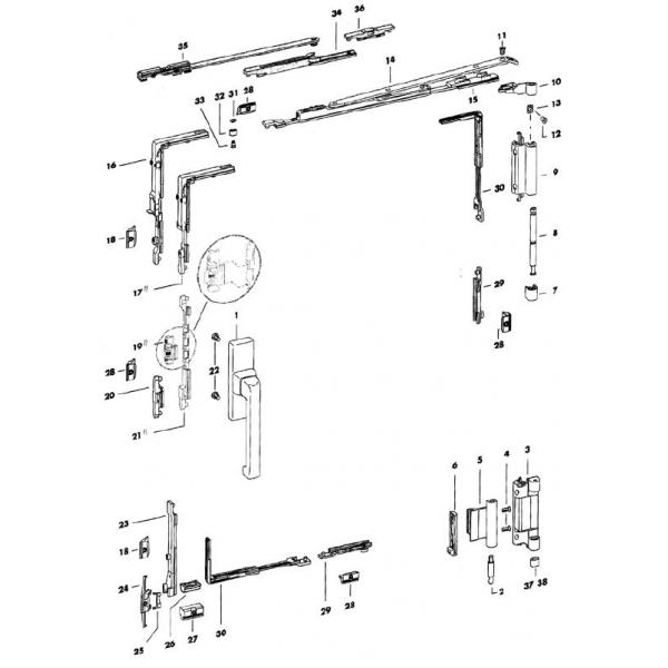 Aluminium Windows Parts : Siegenia aluminium window tilt and turn gearing system
