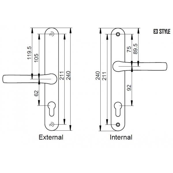 Pro 92 62pz Lever And Pad Upvc Door Handles